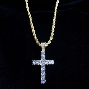 Other - CROSS FULL DIAMONDS CZ 18K GOLD ROPE CHAIN ITALY!!